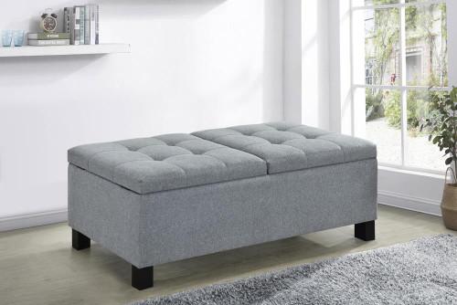 Accent : Benches & Ottomans - Grey - Corner Split Storage Bench Grey