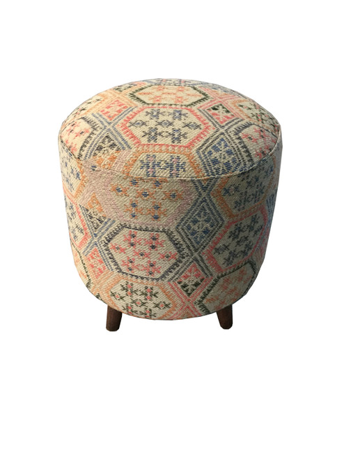 Accent : Accent Stools - Multi-color - Ikat Pattern Round Accent Stool Multi-color