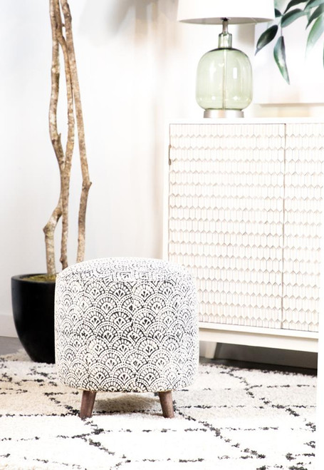 Accent : Accent Stools - Cream - Round Upholstered Accent Stool Cream And Black
