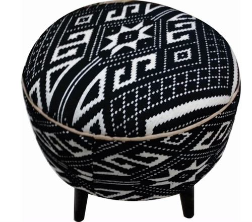 Accents : Ottomans - Black - Frankfort Round Accent Stool Black And White