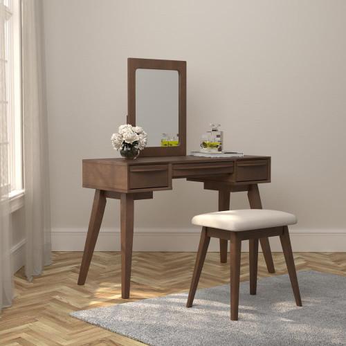 Beige - 2-piece Vanity Set With 3-drawer Medium Brown