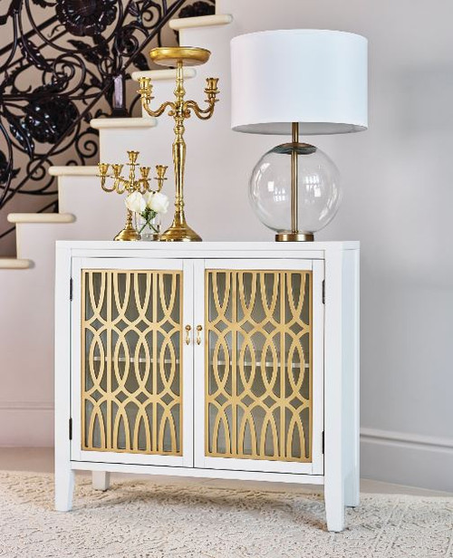 2-shelf Accent Cabinet White And Gold