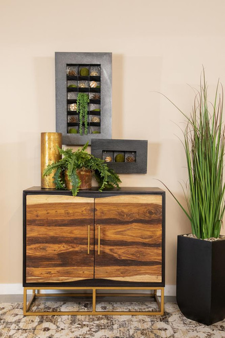 2-door Accent Cabinet Black Walnut And Gold