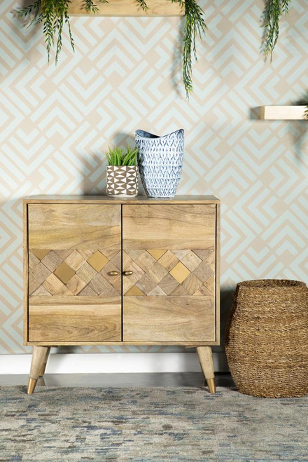 Checkered Pattern 2-door Accent Cabinet Natural