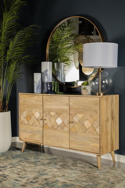 Checkered Pattern 3-door Accent Cabinet Natural
