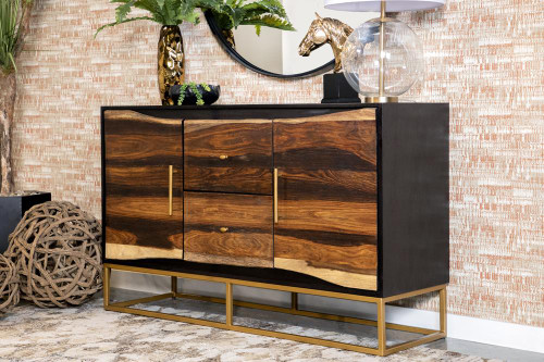 2-drawer Accent Cabinet Black Walnut And Gold