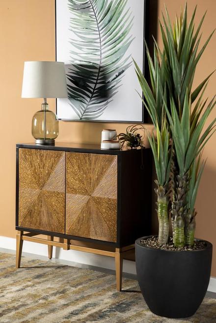 Sunburst 2-door Accent Cabinet Brown And Antique Gold