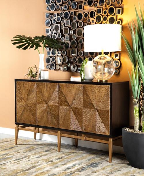Sunburst 4-door Accent Cabinet Brown And Antique Gold