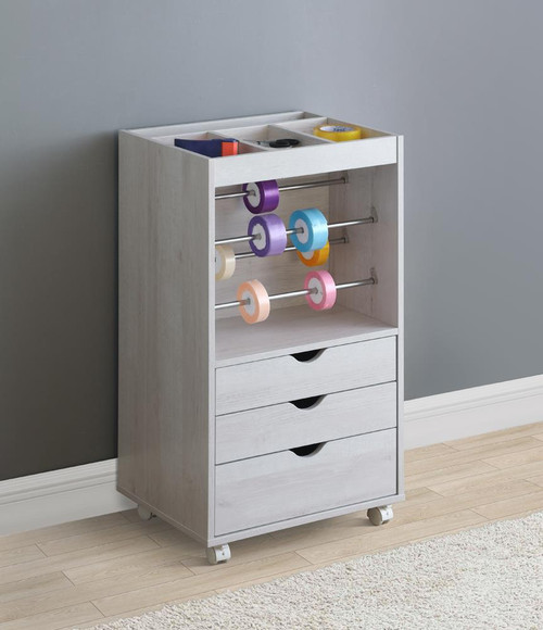 3-drawer Storage Cabinet With Caters White Oak