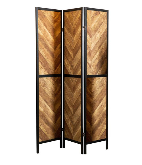 Herringbone Pattern 3-panel Screen Rustic Tobacco And Black