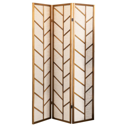 Foldable 3-panel Screen Walnut And Linen