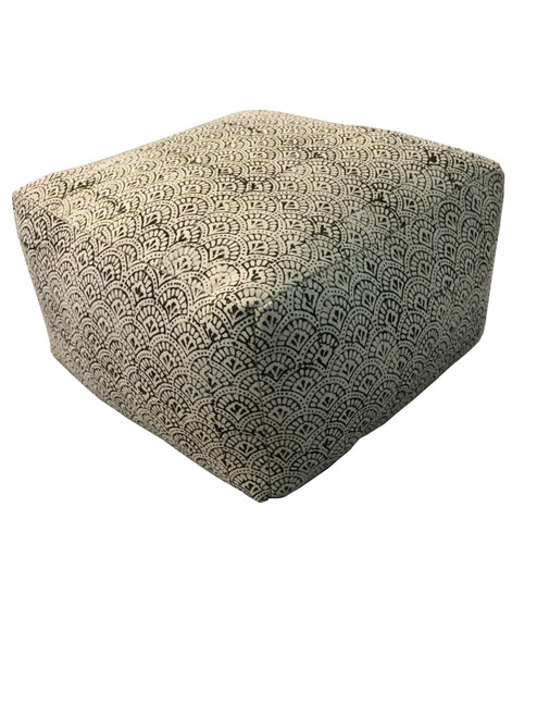 Accent : Floor Pouf - Cream - Square Upholstered Floor Pouf Cream And Black