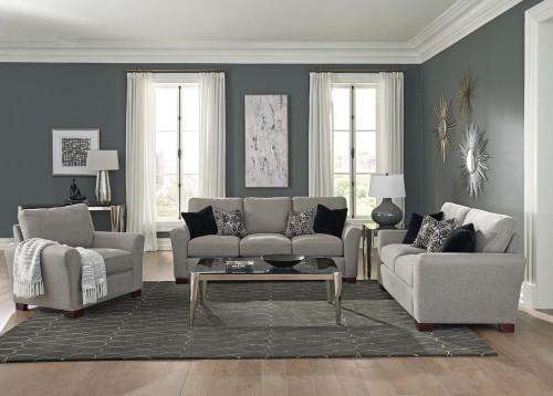 Warm Grey - Drayton 3-piece Flared Arm Upholstered Living Room Set Warm Grey
