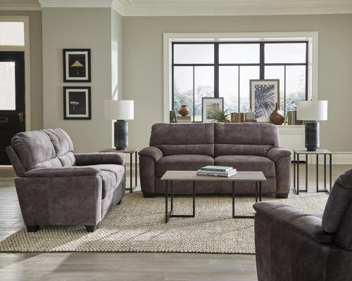 Charcoal Grey - Hartsook 3-piece Pillow Top Arm Living Room Set Charcoal Grey