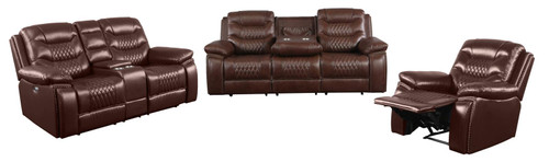 Brown - Flamenco Tufted Upholstered Power Loveseat With Console Brown