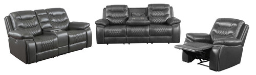 Charcoal - Flamenco Tufted Upholstered Power Loveseat With Console Charcoal