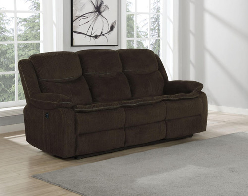 Brown - Jennings Upholstered Power Sofa With Drop-down Table Brown