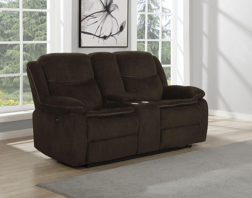 Brown - Jennings Upholstered Power Loveseat With Console Brown