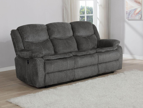 Charcoal - Jennings Upholstered Power Sofa With Drop-down Table Charcoal