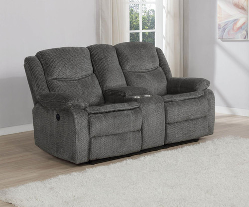 Charcoal - Jennings Upholstered Power Loveseat With Console Charcoal