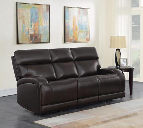 Dark Brown - Longport Upholstered Power Sofa Dark Brown