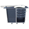 """ID dims - 13 1/2"""" x 9 1/2"""" x 3 1/2"""" high. There is a storage compartment beneath the drawers which measures about 15"""" x 10"""" x 10"""" high. A rigid pad is supplied as a top work surface which is carpeted on both top and bottom. This pad folds in half and velcros on to top of case when case is setup and stores in the lid as shown. Approx OD of this case is: 15  1/2"""" x 13"""" x 30"""" high including the wheels."""