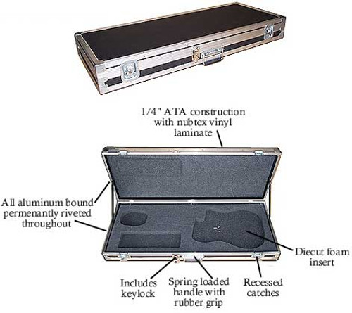 """ATA Guitar Case fits Fender Strat - Tele - Gibson Les Paul Generic Cutout Fits All Approximate OD 43"""" x 16-1/2"""" x 5"""""""