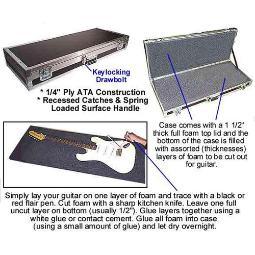 "Do-It-Yourself Uncut Guitar ATA Case 3 Sizes Avialable Standard Guitar ATA Case - 43"" x 16-1/2"" x 4-1/2"" Large Guitar ATA Case - 45"" x 18"" x 4-1/2"" Bass Guitar ATA Case - 49"" x 16-1/2"" x 4-1/2"""