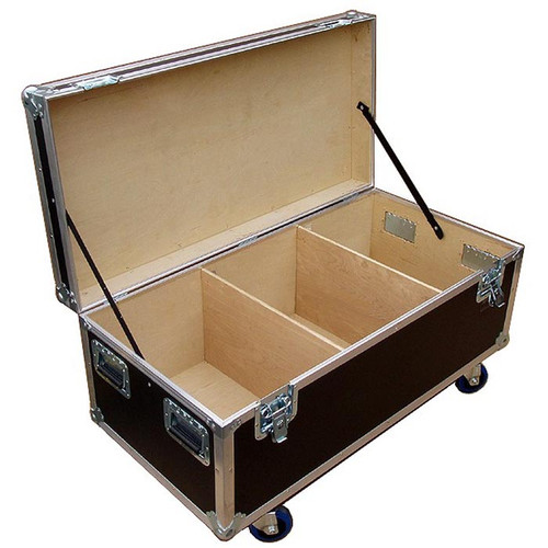 "Heavy Duty Cable Trunk Outside Dimensions 44-3/4"" x  22-1/4"" x 17"" High (not including wheels) Fits 2 or 4 Wide in a Standard Truck Bare Wood Interior - 3 Compartments"