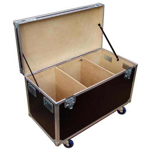 "Heavy Duty 3/8"" Plywood Extra High Cable Trunk 44-3/4"" x  22-1/4"" x 25"" High Fits 2 or 4 Wide in a Standard Truck Bare Wood Interior - 3 Compartments -  4"" Heavy Duty Caster Included"