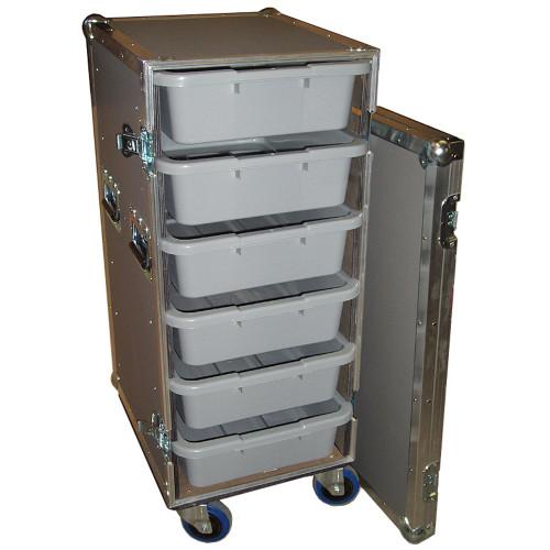 "6 Small Tub - Drawer 3/8"" Ply Heavy Duty ATA Case w/Wheels"