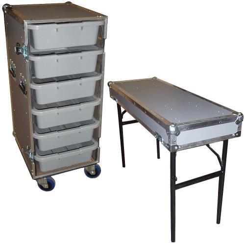 """6 Small Tub Drawers 3/8"""" Ply ATA Case w/Lid Table/Wheels"""
