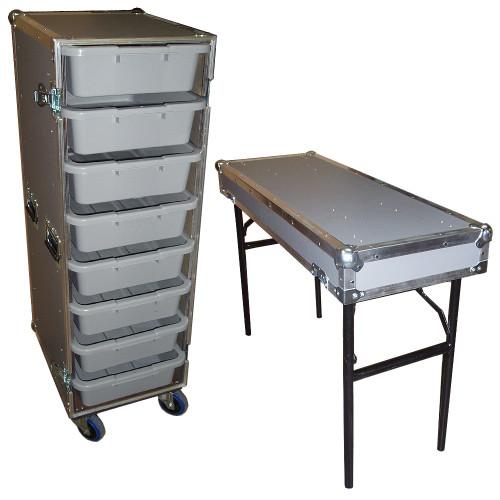 """8 Small Tub Drawers 3/8"""" Ply ATA Case w/Lid Table/Wheels"""