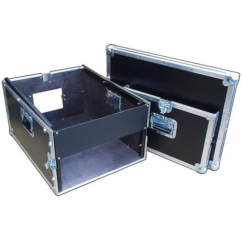 "14 Sp OVER 4 Sp Rack/Mixer 1/4"" Ply ATA Case w/Dolly Wheels"