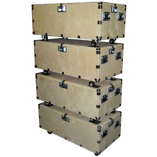 "48"" Crate Style Trunk Cases - 1/2"" Ply w/Wheels - 4 Pc Stacking Set"