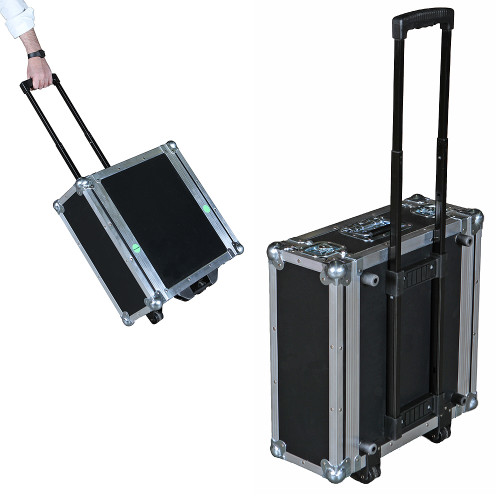"4 Sp ATA Rack Case - Retractable Handle/Wheels - 16"" Deep"