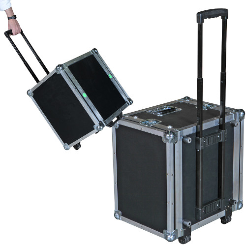"8 Sp ATA Rack Case - Retractable Handle/Wheels - 16"" Deep"