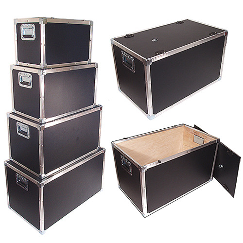 "New Design Latchless Flat Lid Trunks   1/4"" Plywood All Aluminum Bound Recessed Handles Bare Wood Interior"