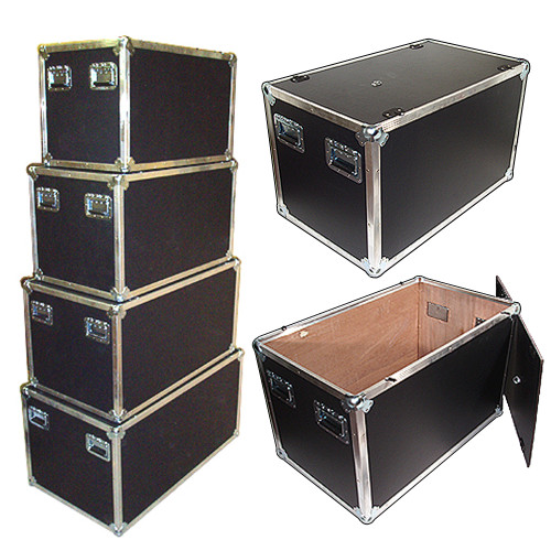"""New Design Latchless Flat Lid Trunks   3/8"""" Plywood All Aluminum Bound Recessed Handles Bare Wood Interior"""
