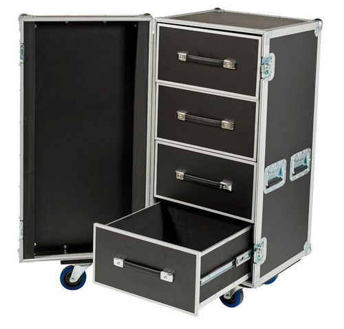 "SMALL 4 DRAWER WORK CASE IN 3/8"" PLY WITH 4"" CASTERS"