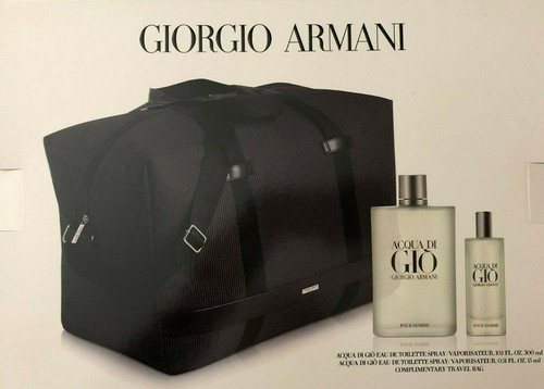 Acqua Di Gio 3pc Set Duffle Bag With 10.1oz Cologne