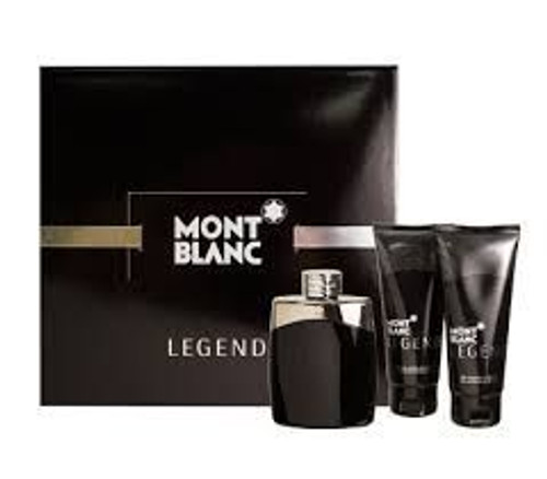 Mont Blanc Legend 3pc Gift Set With After Shave Balm Men