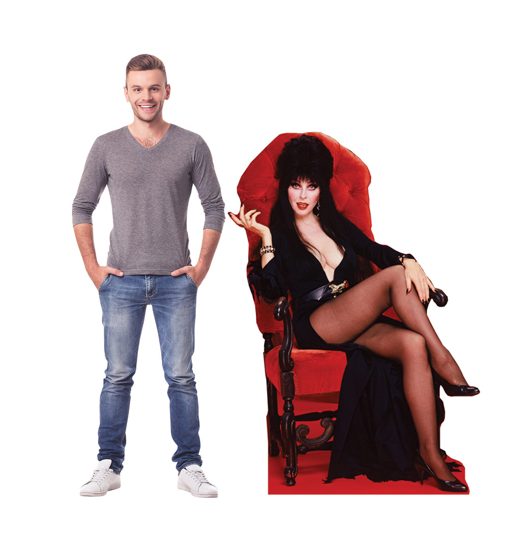 Elvira in Chair Lifesize Cardboard Cutout with Model