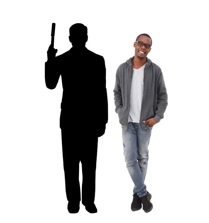 Sevret Agent Spy with Gun Silhouette Lifesize Cardboard Cutout with Model