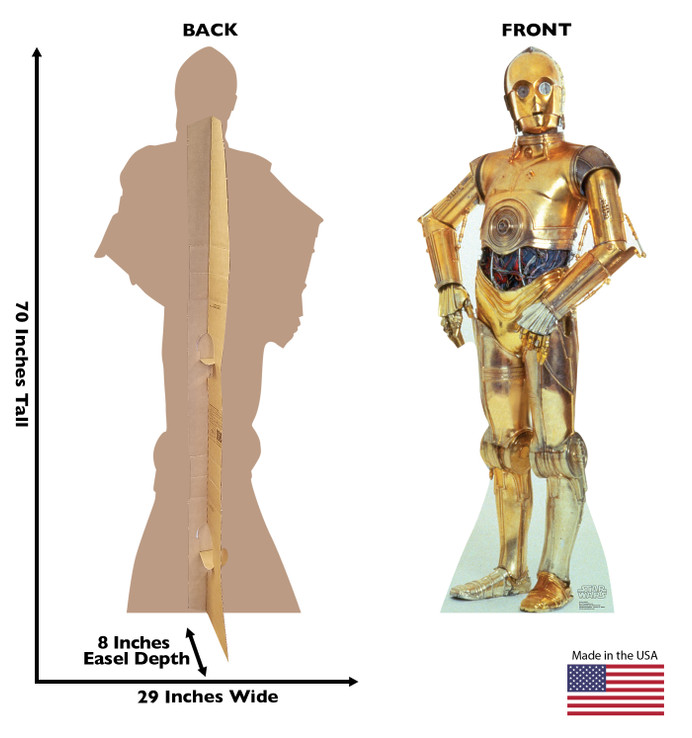 C-3PO Star Wars Lifesize cardboard  cutout dimensions
