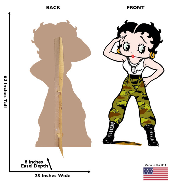 Betty Boop Army Fatigues Lifesize Cardboard Cutout Dimensions