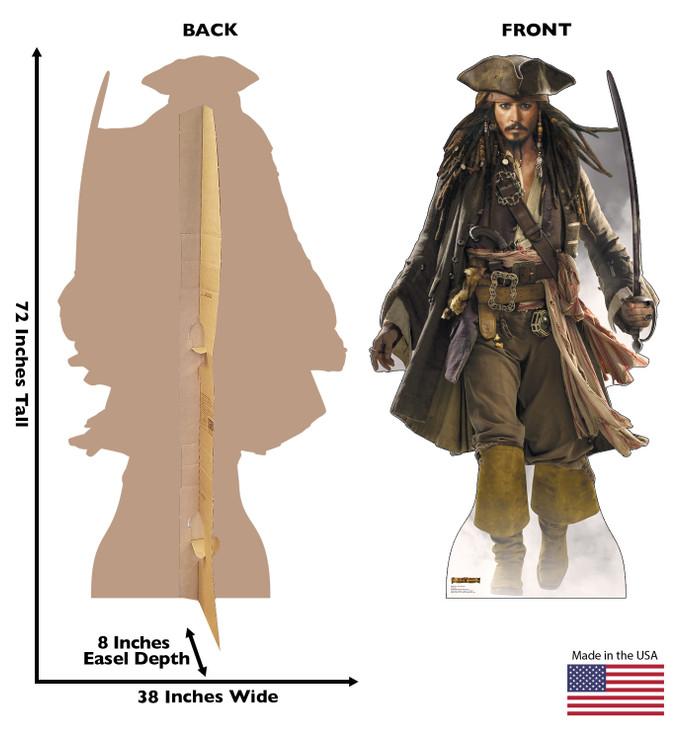 Captain Jack Sparrow Pirates of the Caribbean Lifesize Cardboard cutout dimensions
