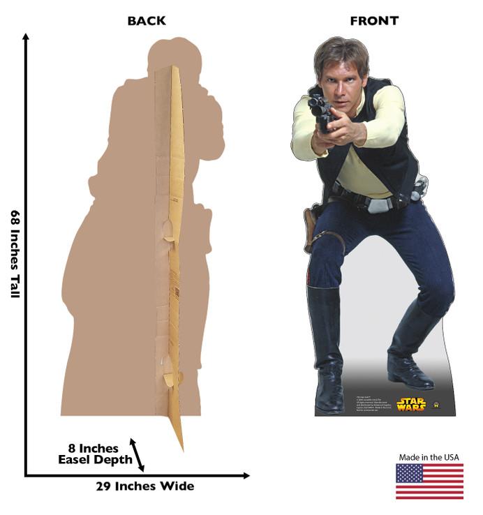 Han Solo Star Wars Lifesize Cardboard cutout dimensions