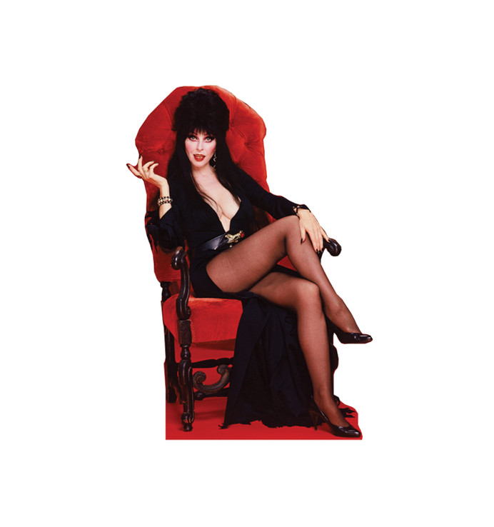 Elvira in Chair Lifesize Cardboard Cutout