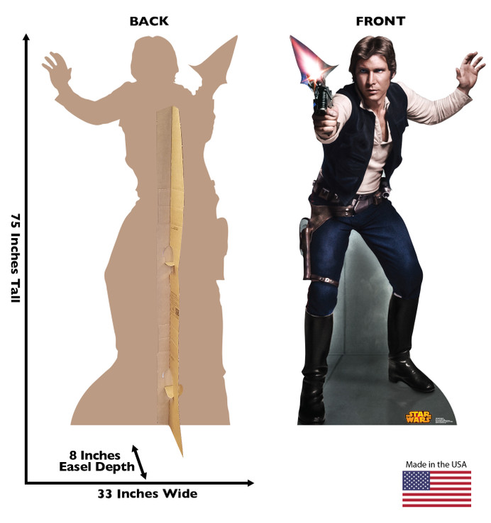 Han Solo - Star Wars Classics Retouched Lifesize Cardboard CutoutDimensions